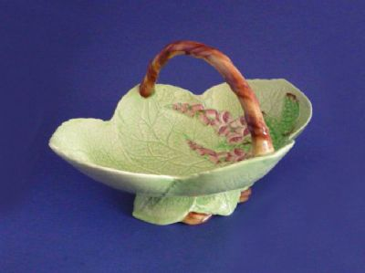 Rare Carlton Ware Green 'Foxglove' Large Basket c1939 (Sold)